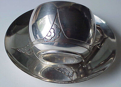 Antique Art Deco Japanesque French 950 Silver 2 Cup 2 Saucer Tea Coffee Set L.r.