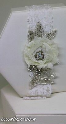Vintage Style Lace Beaded Ivory Flower Garter Bridal Wedding Accessories
