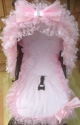Pram Pushchair Frill Pink Bling Bow Hood Trim With Matching Liner - Romany