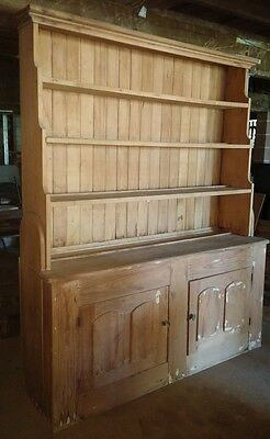 Vintage country kitchen dresser hutch cupboard display cabinet