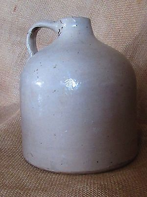 "Antique Jug  Stoneware Pottery Crock, 1/2 Gallon, 7 1/4"" x 6"" diameter"