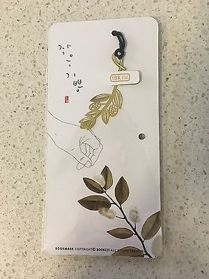 Unique Beautiful Cotton Leaf 18K Gold Plated Bookmark Gift !!