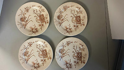 "4 Hp&m Chester Brown Transferware Aesthetic Plates 8"" Dia. England Reg."