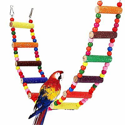 Comsmart Flexible Colorful Ladder Bird Toy, Swing Wooden Rainbow Bridge with for
