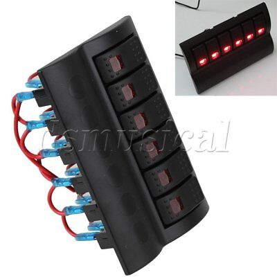 6 Gang DC 12V LED Indicator Marine Boat Caravan Rocker Switch Panel Breakers