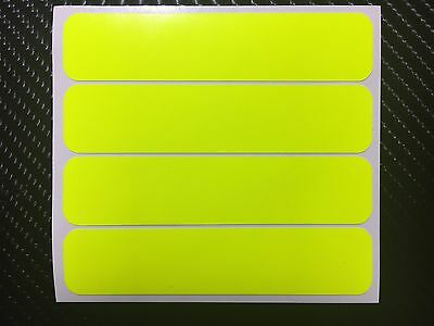 4x UV FLUORESCENT Yellow Strips Motorcycle Helmet Stickers SAFETY HiViz Daytime