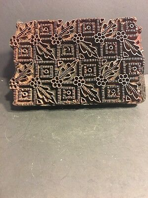 Vintage Indian Wooden Textile Stamps Fabric Print Block  Floral Shape Carved