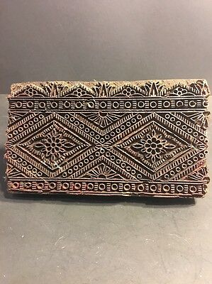 Vintage Indian Wooden Textile Stamps Fabric Print Block Diamond Shape Carved