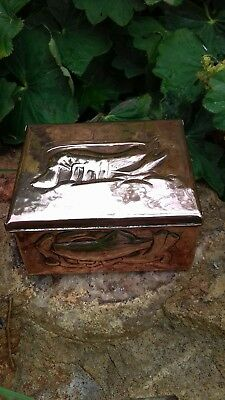 Newlyn Copper Box Casket Repousse Fish Shells Lobster Stamped Arts and Crafts