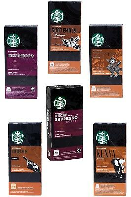 Starbucks Nespresso Espresso Selection Coffee Set 6 Flavour 60 Pod +Free Cleaner