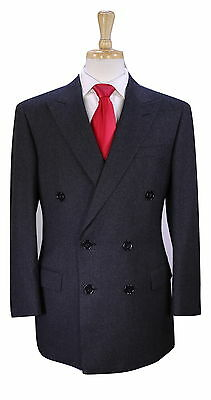 * RALPH LAUREN * Black Label Solid Charcoal Gray Wool Flannel 2-Btn DB Suit 40R