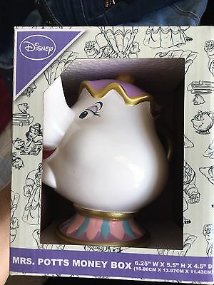 Rare Limited Edition Disney Beauty And The Beast Mrs Potts Ceramic Money Box New