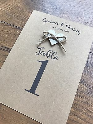 Kraft Wedding Table Number Name Shabby Chic Rustic Personalised