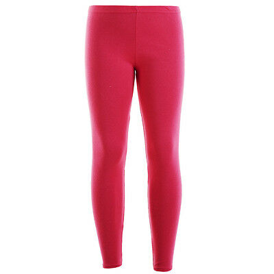 Kids Girls Fuchsia Plain Full Length Stretchable Leggings Great Fit 7 - 13 Years