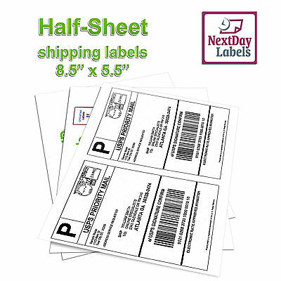 500 Half Sheet Shipping Labels 8.5 x 5.5 Self Adhesive 2/Sheet For USPS Paypal