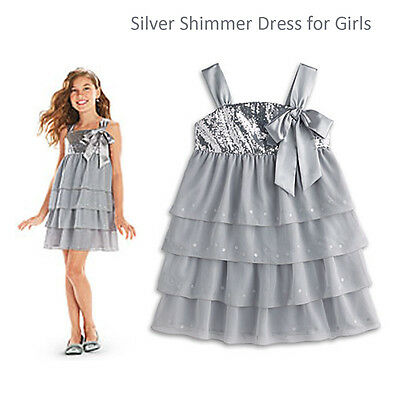 American Girl CL MY AG SILVER SHIMMER DRESS SIZE 8 SMALL for Girls Holiday NEW