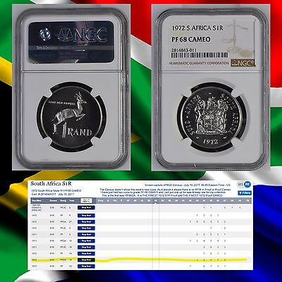 REGISTRY KILLER 1972 SOUTH AFRICA PF 68 CAMEO NGC CONSERVED Silver Rand R1  1r