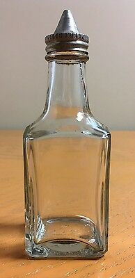 VIntage 1940s Medco Products NYC Glass Cruet Bottle w/Conical Lid Dispenser