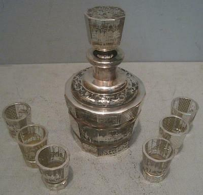 Lovely Vintage Decanter Set Silver Overlay Orientalist Scenes