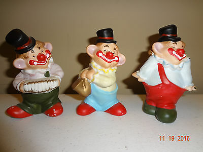 Lot of 3 Small Smiling Clown Figurines
