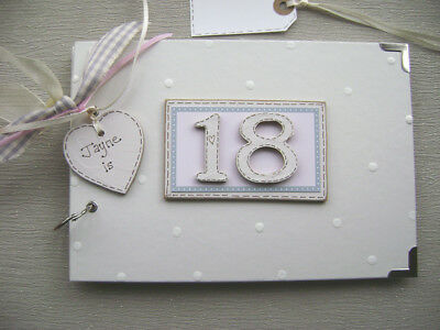 PERSONALISED 18th  birthday .A5  SIZE. PINK  PHOTO ALBUM/SCRAPBOOK/MEMORY BOOK.