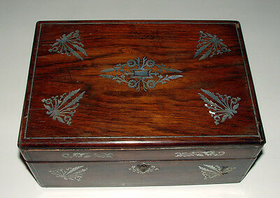Antique Walnut Sewing Box,Mother-of-Pearl & Silver Inlay,Compartment Tray,Tools