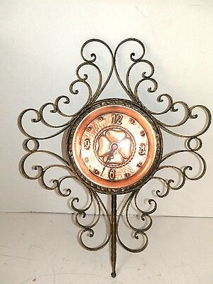 Wall clock with quartz movement wrought iron quadrant copper