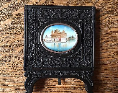 Antique Victorian Anglo Indian Mughal Miniature Of Golden Temple Amritsar 1880.