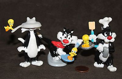 "THREE Applause Looney Tunes,  SYLVESTER THE CAT & TWEETY Bird 3"" figures"