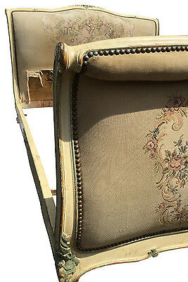Antique French Shabby-Chic Bed Frame with Scroll Ends Original Fabric and Paint