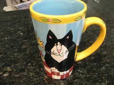 """catzilla By Candace Reiter"" Cat Mug-- Black Cat&yellow Cat"
