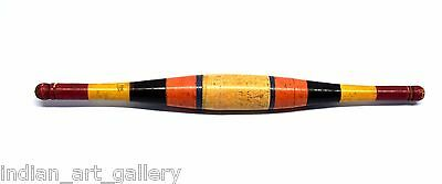 Indian Wooden Laquer Painted Bread Rare Chapatti  Rolling Pin Stick. i40-38