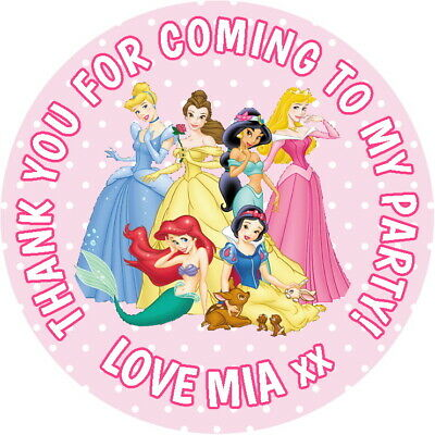 Personalised Disney Princess Gloss Birthday Party Bag, Sweet Cone Stickers