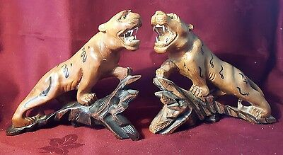 Old Pair Of Carved Wooden Tigers