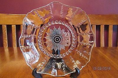"""Vintage Clear Federal Glass Columbia 10 1/2"""" Ruffled Bowl"""