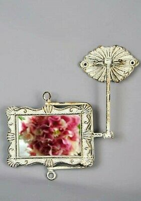 Shabby Chic Style French Cream Ornate Swing Mirror on Wall Stand