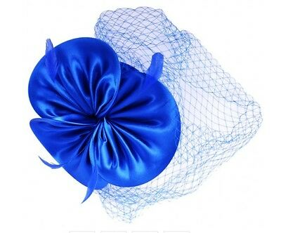 Elegant Satin Bow & Feather Fascinator - Royal/Blue