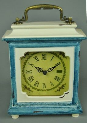 Vintage French style Ornate Ivory and Blue Mantle Desk top Carriage Clock