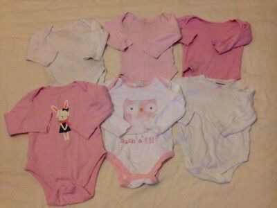 Bundle of baby girls 6 X Long Sleeve Vests age: 6-9 Months Pink & White ZZ4