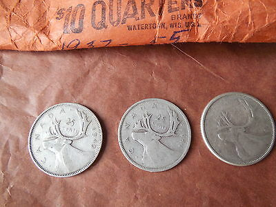 Three Silver Canadian Quarters, Twenty Five Cent Coins, 1941,1949,1955