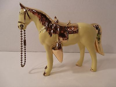 Vintage Yellow & Gold Porcelain Horse by Sabin