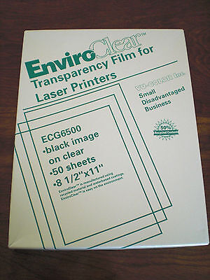 """EnviroClear Transparency Film for laser printers 50 8 1/2""""x 11""""  sheets-Recycled"""