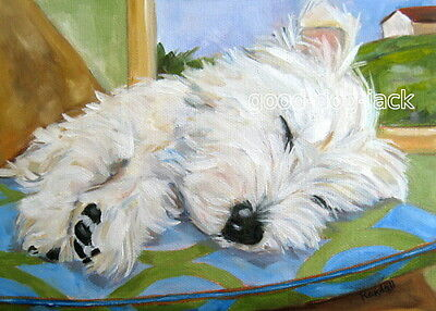 """West Highland Terrier WESTIE MATTED PRINT Painting """"LITTLE ANGEL"""" Dog RANDALL"""