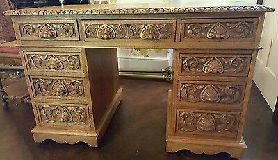 Gorgeous Carved Oak Leather Top Pedestal Desk Bureau