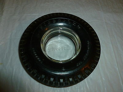 "Vintage 6-1/4"" Firestone Transport 100 Tire Ashtray w/ Glass Insert  Lot A-517"