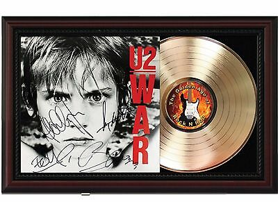 U2 - War - 24k Gold LP Record With Reprint Autographs In Cherry Wood Frame