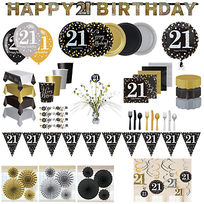 21st Birthday Party Decorations Black Gold Tableware Plates Cups Napkin Cutlery