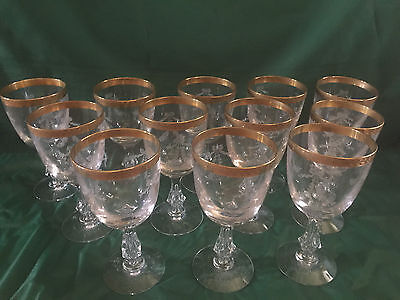 "Tiffin Franciscan ""Antoinette"" Gold. Water Goblets Priced Each Have 12"
