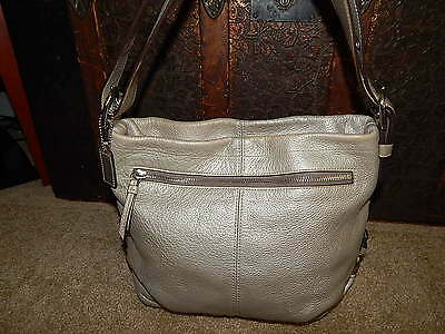 COACH Handbag F15064 Duffle Tote Pewter Pebbled Leather Shoulder Bag Authentic