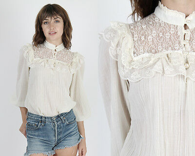Vintage 70s Gunne Sax Top Boho Wedding Hippie Prairie Sheer Floral Lace Blouse M